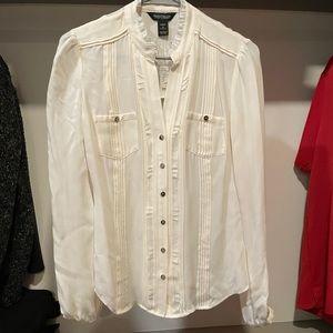 White House black market silk blouse top shirt